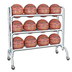 Buy Champro 12 Ball Rack with Casters, Upright (Silver, 41 x 17 x 41) by Champro