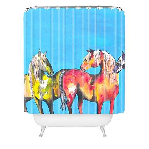 Deny Designs Clara Nilles Painted Ponies On Turquoise Shower Curtain front-431643
