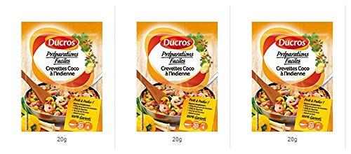 DUCROS - Solutions Cuisson - Preparations Faciles Pret a poeler - Crevettes Coco a l Indienne - 20 g - lot de 3