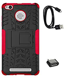 TBZ Hard Grip Rubberized Kickstand Back Cover Case for Xiaomi Redmi 3S with Cute Micro USB OTG Adapter and Data Cable -Red