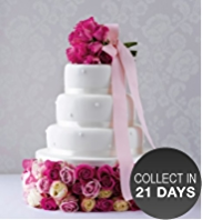Romantic Pearl Fruit Wedding Cake (White Icing)