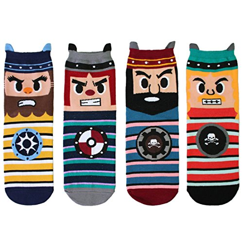 kilofly Novelty Crew Socks Value Pack [Set of 4 Pairs] - Caribean Pirates (Funny Socks Pack compare prices)