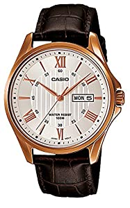 Casio #MTP1384L-7AV Men's Rose Tone Leather Band Day Date Roman Silver Dial Watch