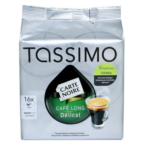 Tassimo Carte Noire Cafe Long Delicat / Voluptuoso Colombia, Intensiv, Kaffee, Kaffeekapsel, Röstkaffee, 16 T-Discs