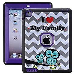 iPad 2/3/4 Case - MagicSky Heavy Duty Shock-Absorption Rugged Hybrid Case Cover for iPad with Retina Display (iPad 4), iPad 3, iPad 2 - Chevron Owl/Purple