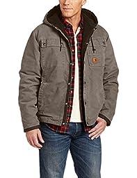 Carhartt Men\'s Sherpa Lined Sandstone Hooded Multi Pocket Jacket J284,Gravel,X-Large