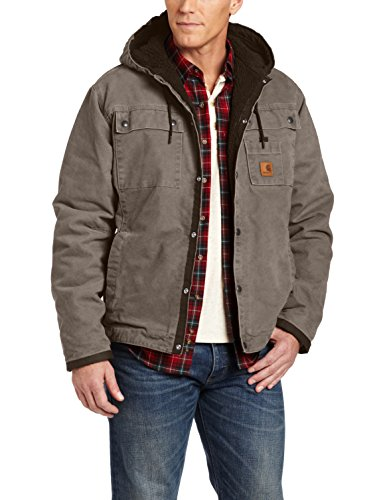 Carhartt Men's Sherpa Lined Sandstone Hooded Multi Pocket Jacket J284,Gravel,XX-Large (Carhartt Snap Hood compare prices)
