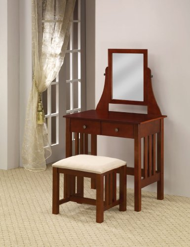 Cheap Brown Transitional Console Table & Mirror Vanity (B003XRA2GO)