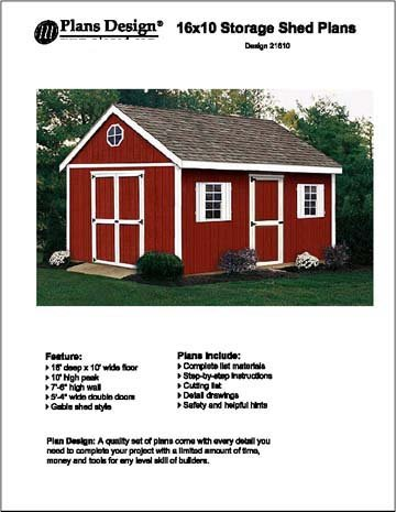 16' x 10' Gable Storage Shed Project Plans -Design #21610