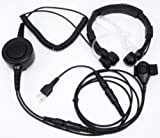 Military Grade Tactical Throat Mic Headset/Earpiece with BIG Finger PTT for Midland GXT/LXT 2 Two Way Radio