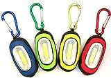 【2 Pack】Elecrainbow Magnetic Pocket Key Chain Flashlight/ COB Super Brightness with Carabiner, Blue & Green