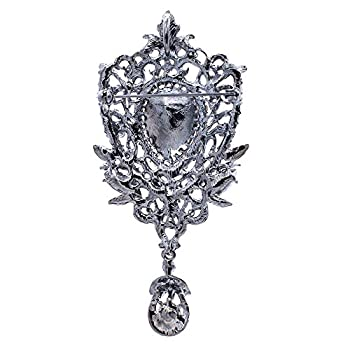 SEP Black Rhinestone Crystals Brooch Vintage Style Drop Broach Pins Women Jewery 6450BLA