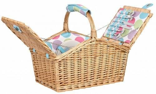 Summerhouse Candy Dot 4 Person Wicker Picnic Basket