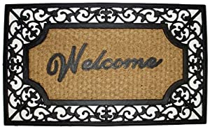 Iron Gate - Welcome Rectangle - Grill Mat with Coir Matting - Heavy Duty Outdoor Premium Coir and Rubber Brush Mat 18x30 - 1/4 Inches Thick - Extremely durable with strong rubber backing - Grips the ground and prevents skidding - Traps dust - Welcome your guests with this high quality doormat