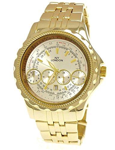 Massive NY London militare XXL Aviator orologio da polso con data orologio da uomo in oro/argento + scatola