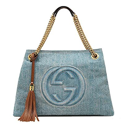 Gucci Soho Blue Denim Large Chain Strap Shoulder Bag
