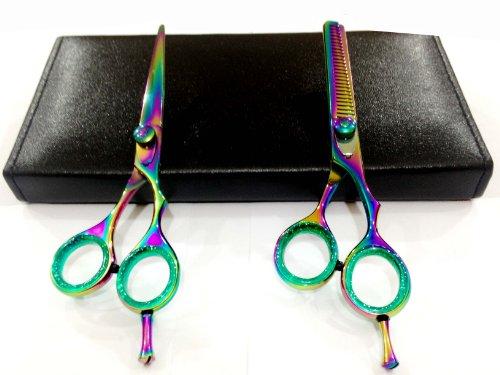 Zzzrt Professional Knife Blade Barber Razor Edge Titanium Coated Hair Cutting And Texturizing Shears / Scissors Set + Free Scissors Pouch