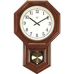 River City Clocks 801-403C 21-Inch Radio-controlled Schoolhouse Clock with Swinging Pendulum and Cherry Finish