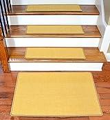 Dean Non-Slip Tape Free Pet Friendly Stair Gripper Natural Fiber Sisal Carpet Stair Treads - Island Gold 29