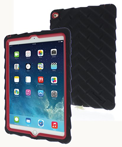 Apple iPad Air 2 Drop Tech Gumdrop Cases Silicone Rugged Shock Absorbing Protective Dual Layer Cover Case, Black/Red (Best Keyboard Case For Ipad Air 2 compare prices)