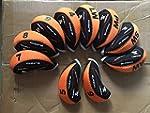 10x Orange & Black Golf Iron Head Cov...
