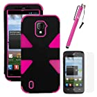 MINITURTLE, Dual Layer Tough Skin Dynamic Hybrid Hard Phone Case Cover, Clear Screen Protector Film, and Stylus Pen for Prepaid Straight Talk Android Smartphone ZTE Majesty Z796C /Verizon (Black / Pink)
