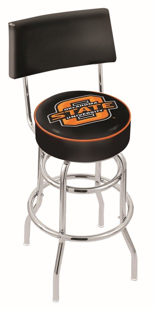 Oklahoma State University Swivel Bar Stool With Back