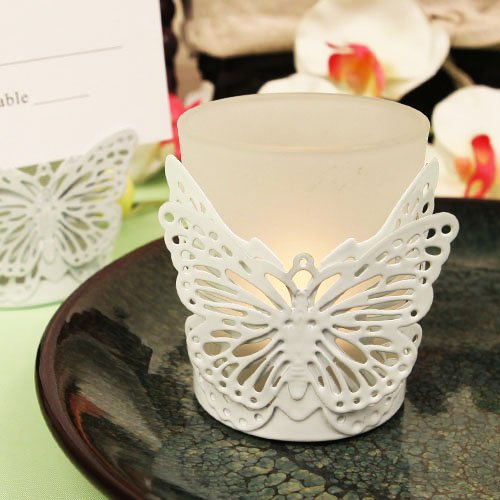 """Latticed Butterfly"" White Butterfly Shaped Steel Candle/Card Holder With Glass Cup And Tea Light Candle - 6 Pc"