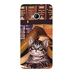Stylish Cat Book Back Case Cover for HTC One M7