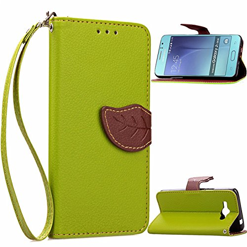 J1 Ace Case,Enjoy Sunlight Samsung Galaxy J1 Ace Case [Leaf Green] [Kickstand Feature] Luxury PU Leather Folio Wallet Flip Case Cover Built-in Card Slots for Samsung Galaxy J1 Ace (Samsung Ace Phone Wallet Cases compare prices)