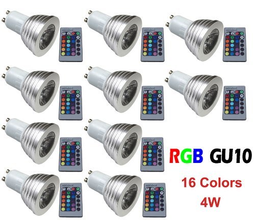 Qich® 10Pcs / 10 X 4W Gu10 Rgb Led Bulb 16 Color Change Lamp Spotlight 110-245V For Home Party Decoration With Ir Remote