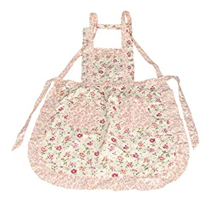 niceEshop(TM) Stylish Rose Flower Pattern Women Chefs Cooking Cook Apron Bib with Pockets,Pink
