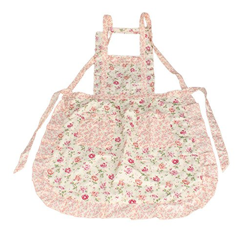 niceEshop(TM) Stylish Rose Flower Pattern Women's Chefs Cooking Cook Apron Bib with Pockets-Pink