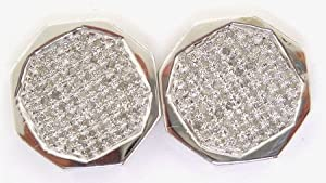 10KWG 0.15CTW ROUND MICRO PAVE DIAMOND MENS EARRINGS FOER1487/W
