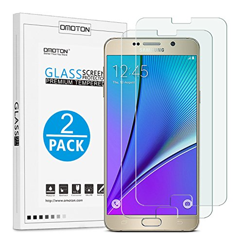 OMOTON 3322750 9H Ultra-Clear Anti-Scratch Tempered-Glass Screen Protector 2.5D Round Edge for Samsung Galaxy Note 5, Pack of 2 (Note Edge Tempered Glass compare prices)
