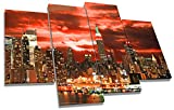 Large New York City Red Sunset Canvas Wall Art Picture 4 Panel Split 110cm wide