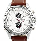 Mens Brown Leather Strap White Dial Quartz Movement Wrist Watch