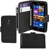 BAAS® Nokia Lumia 925 Noir Etui Housse Coque en Cuir Portefeuille + 3 x Film de Protection d'Ecran + Stylet