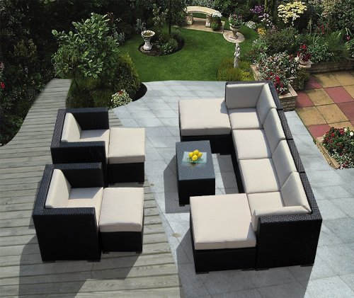 Genuine Ohana Outdoor Patio Sofa Wicker Sectional Furniture 11pc Couch Set (Beige Cushion) with Free Patio Cover
