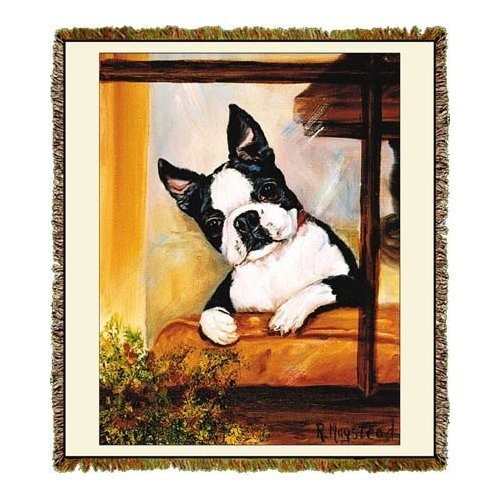 Boston Terrier Tapestry Throw Blanket - Ruth Maystead ©