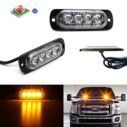 iJDMTOY (2) Ultra Slim Extremely Bright High Power CREE 4-LED Strobe Warning Light Flashers For Truck, Jeep, 4x4, ATV, Construction Vehicles, etc (Tacoma Fog Light Insert compare prices)