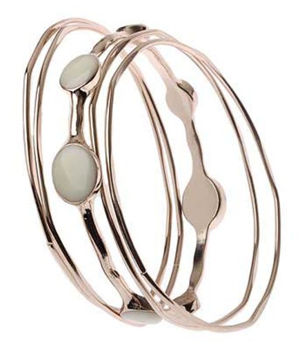 The Jewellery Factory Set of 5 Silver Colour Bangles, 4 Plain and 1 with Cream Enamel