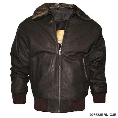 Mens Dark Brown Fur Collar Flight Jacket G3B Size XXXL-Triple Extra Large