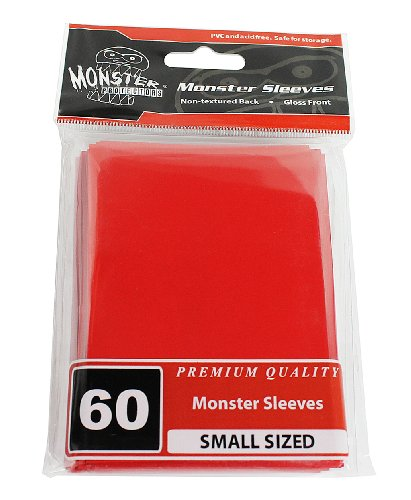 Sleeves - Monster Protector Sleeves - Smaller Size Gloss Finish - RED (Fits Yugioh and Other Smaller Sized Gaming Cards) - 1