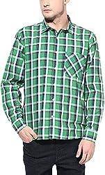 Y.U.V.I. Men's Blended Regular Fit Casual Shirt (11113018-M, Multi-Coloured, Medium)