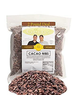 Cacao Nibs by Gerbs - 2 LBS - Top 11 Food Allergen Free & NON GMO - Product of Peru - Vegan & Kosher from GERBS GOURMET SEEDS, FRUITS, BUTTERS & MIXES