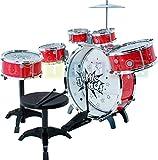 Steinbach Kinderschlagzeug, Schlagzeug mit Hocker und 2 Trommelstöcken, Schlagzeug Drumset, Kinder Trommel - Set Schlagzeug Drumset 9-tlg - ROT