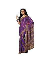 Designer Appreciable Purple Embroidered Faux Georgette Saree By Triveni