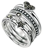 By Mojo and Mojo: Chic Collection Size N - Women's Sterling Silver Marcasite Heart and Star Set of 4 Stacking Rings. (Sizes K to R 1/2 Available). Beautifully presented in a pretty box with a bow.