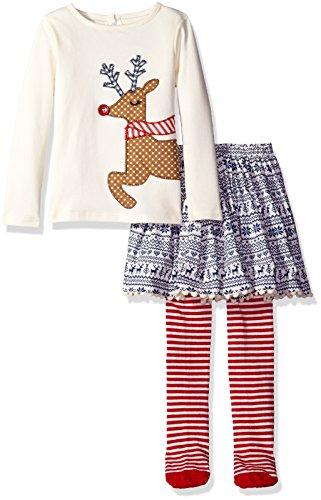 Mud Pie Toddler Girl Holiday Two Piece Playwear Set, Fair Isle Skirt, 2T